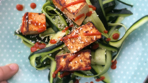 Crispy chilli sesame tofu with zoodles