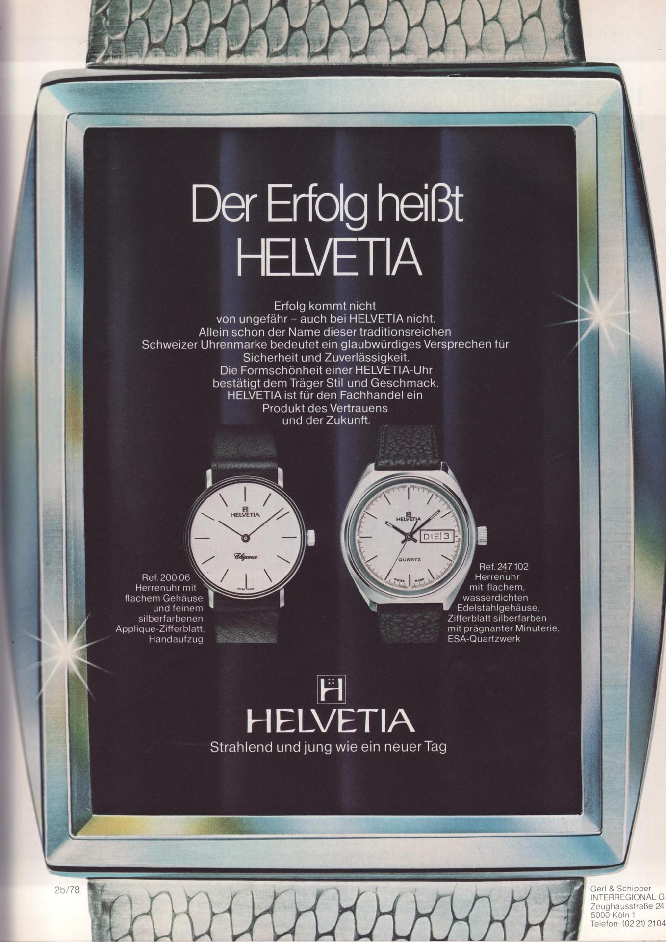 Helvetia Advertisement 1978