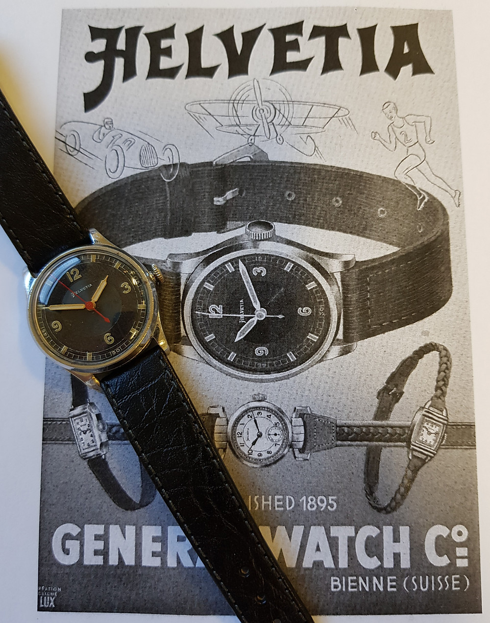 Helvetia 1030s Sports Watch with Advert from 1939