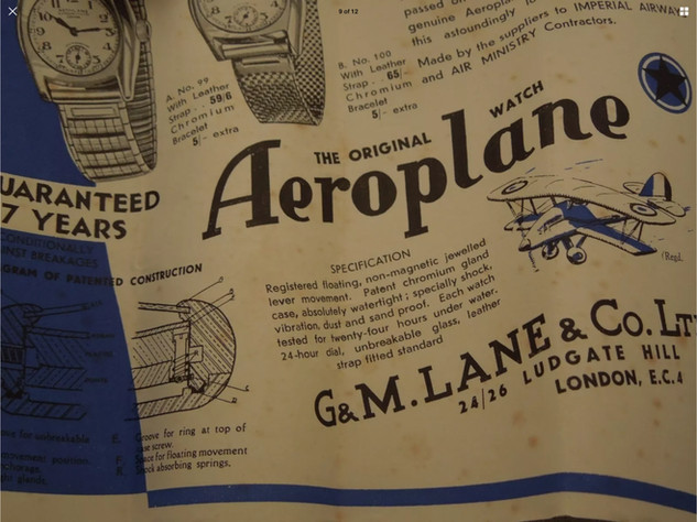 Part of G & M Lane leaflet ref their Aeroplane branded Helvetia watches