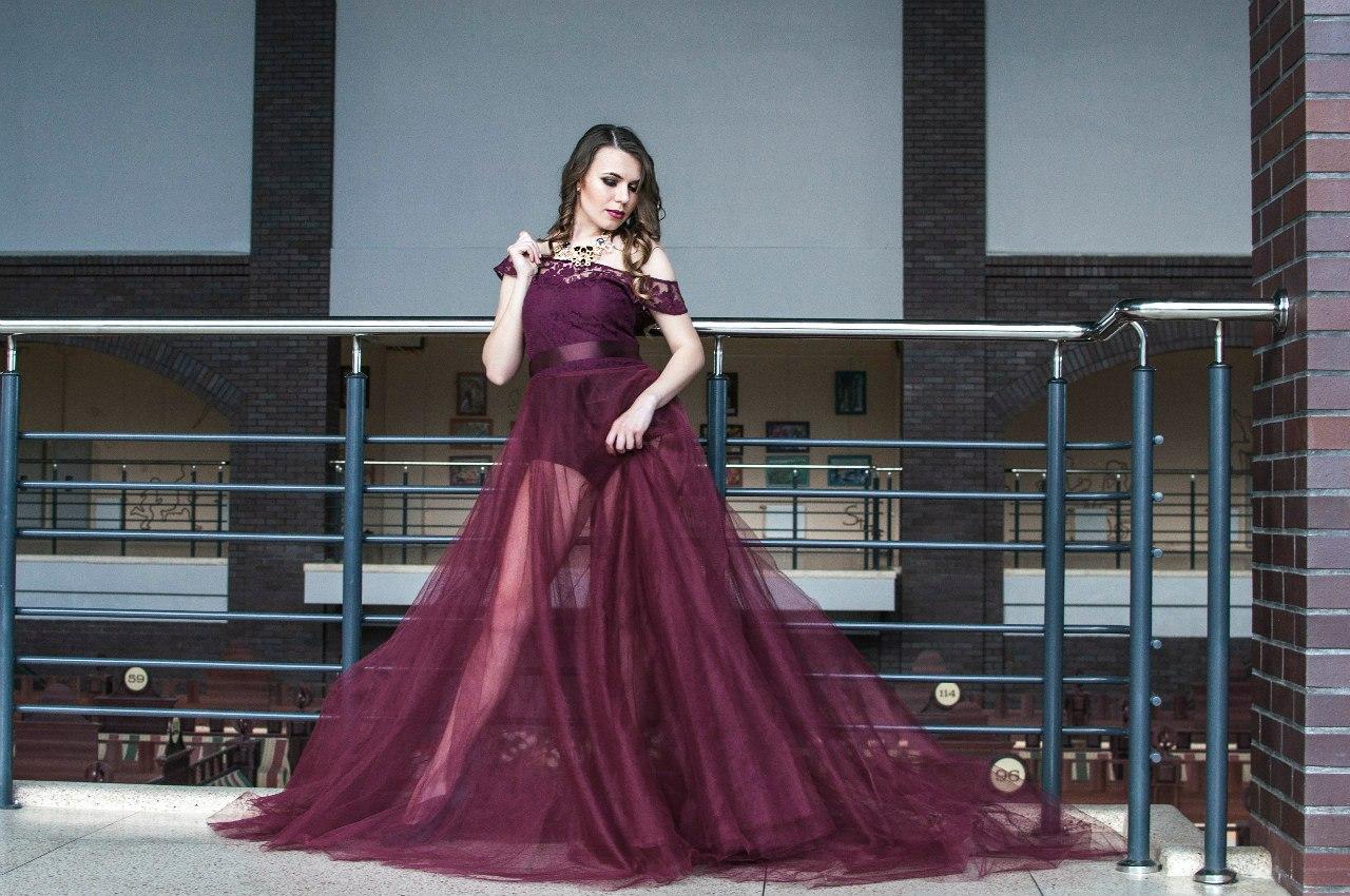 9. Платье пышное марсал (+подьюбник)