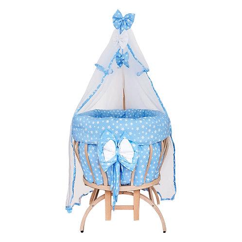 Beşiksan Titreşimli New Star Doğal Boyasız Anne Yanı Sepet Beşik-Mavi Uyku Setli