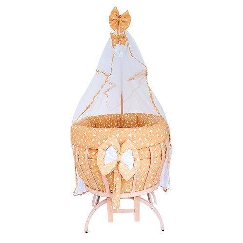 Beşiksan Titreşimli New Star Doğal Boyasız Anne Yanı Sepet Beşik - Sarı Uyku Set