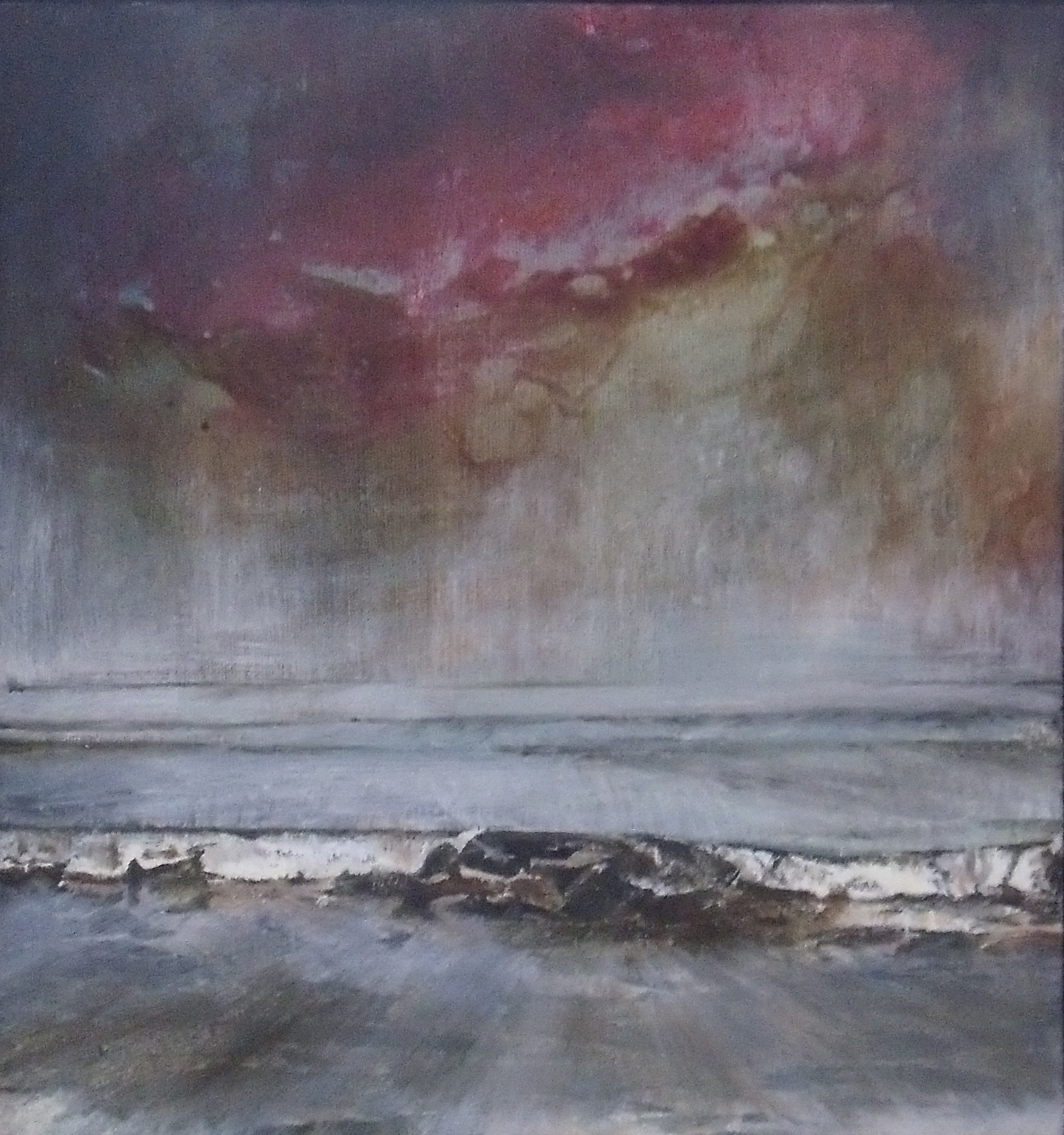 'Red Sky at Night II' Mixed Media on Linen 21.5cmx23cm