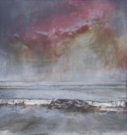 'Red Sky at Night II' Mixed Media on Linen 21.5cmx23cm