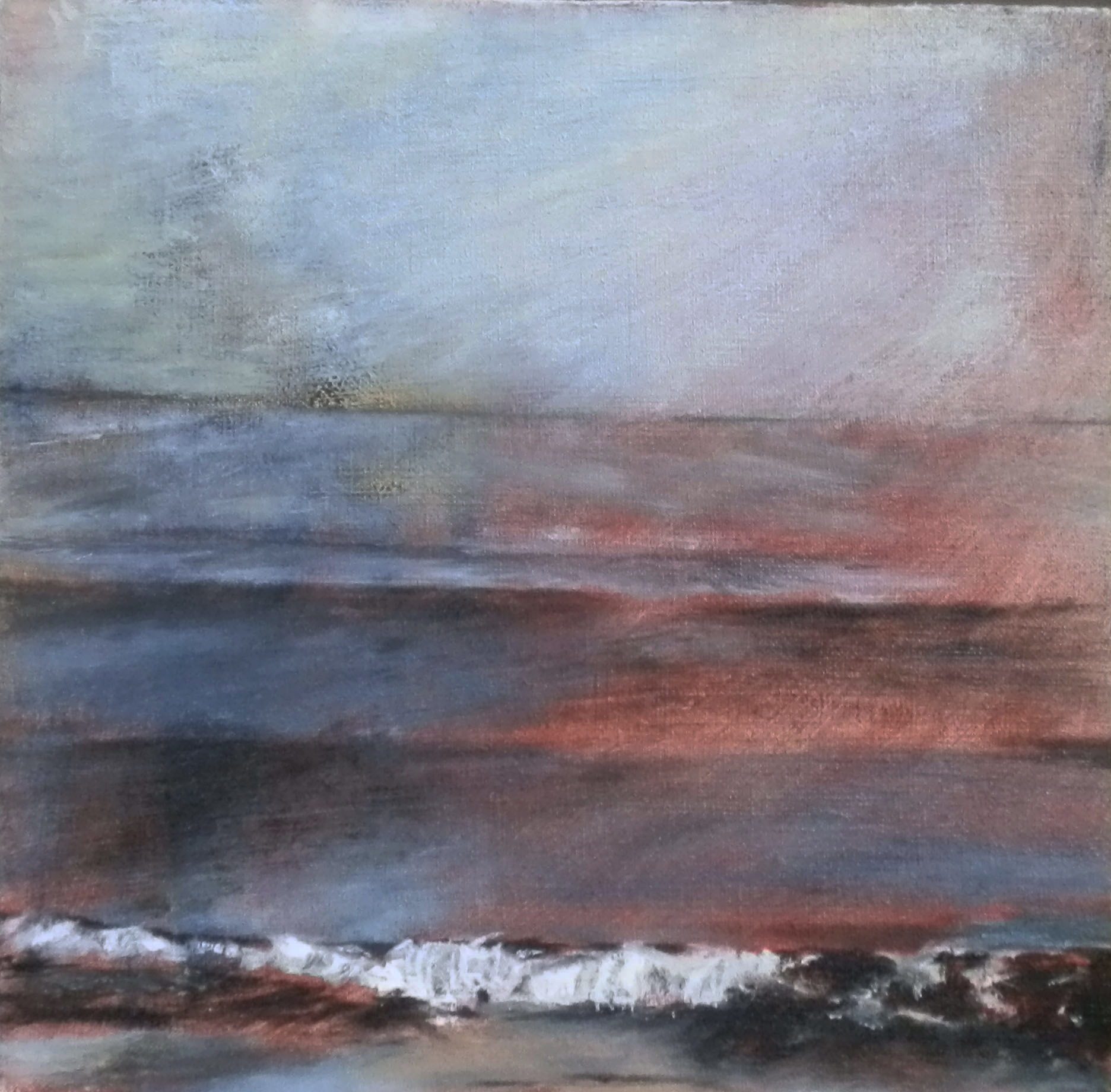 'Red Sky, East Coast'    Mixed media on linen