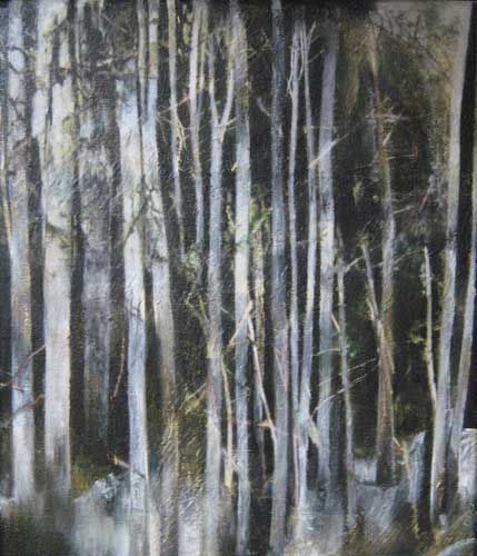 Golden-Light-Dunkeld-II  Mixed media on canvas