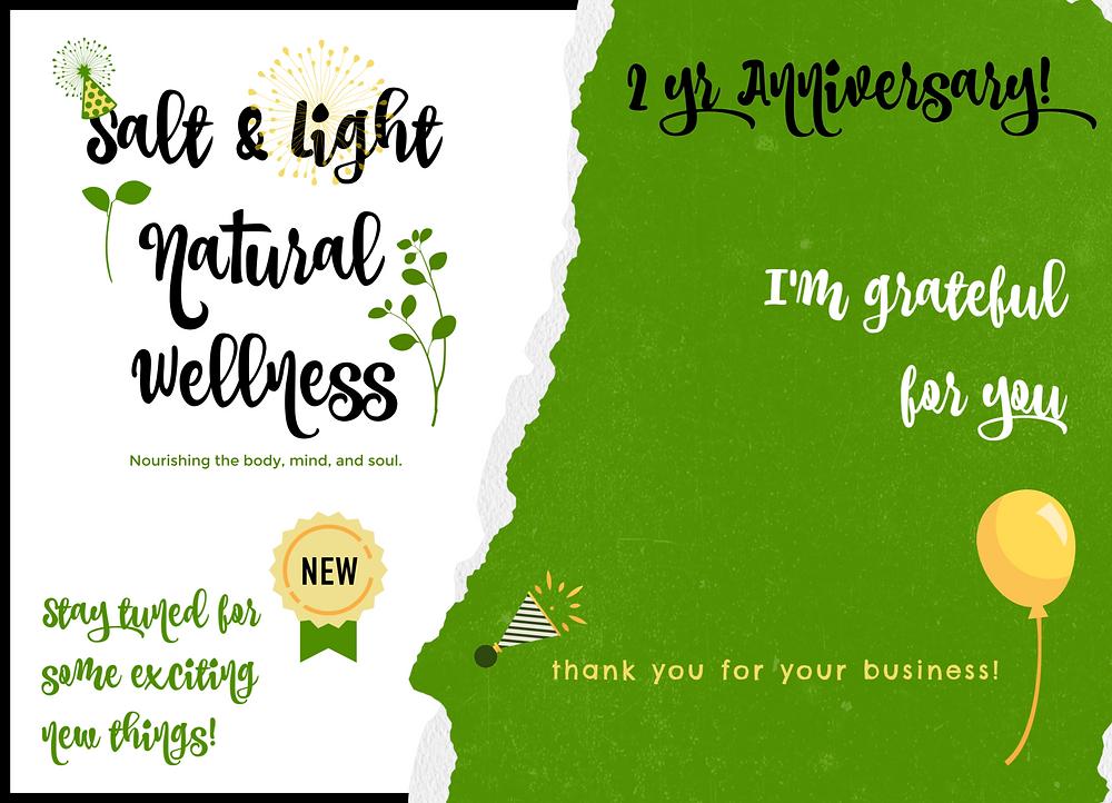 2 yr Anniversary Thank you | Salt & Light Natural Wellness