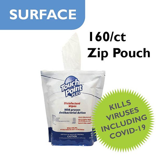 Surface Disinfectant Wipes - 160 wipes per Zipper Pouch