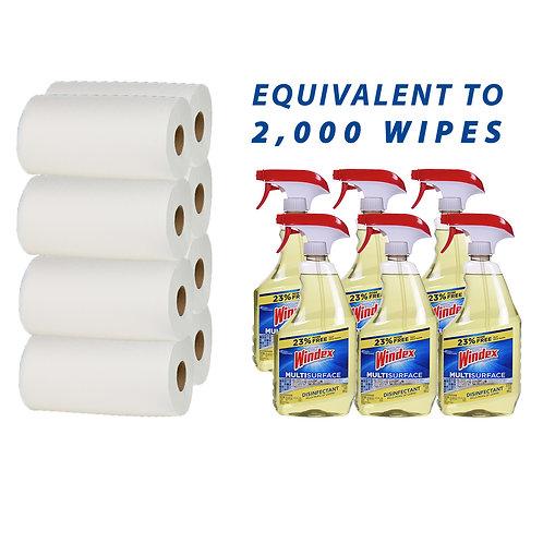 BUNDLE- (6) Windex 32oz Disinfectant Spray Bottles and (8) Mega Size Roll Towel