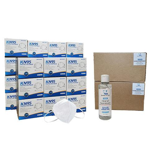 BUNDLE - (48) Hand Sanitizer 8oz Flip-Top Bottles & (500) KN95 Face Masks