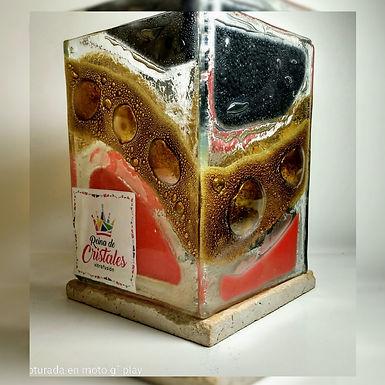 Lámpara fanal (para colocar vela) - Reina de Cristales - Vitrofusión