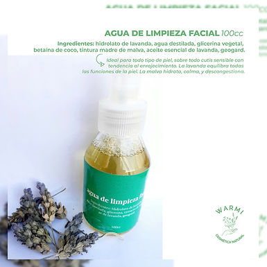 Agua de limpieza facial - Warmi Cosmética Natural