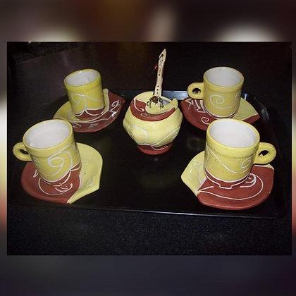 Juego de café con azucarera - Surcos Cerámica