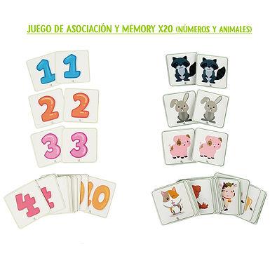 Juego de asociación y memoria x20 (números y animales) - Huella Lúdica