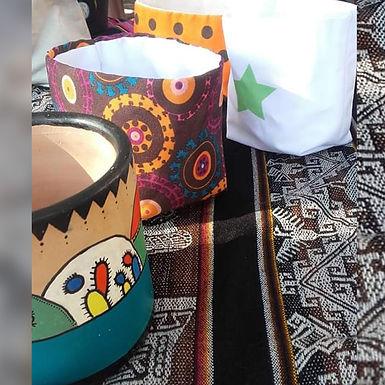 Cestos de tela tejido al telar con telas recicladas - Casa de Artesanas