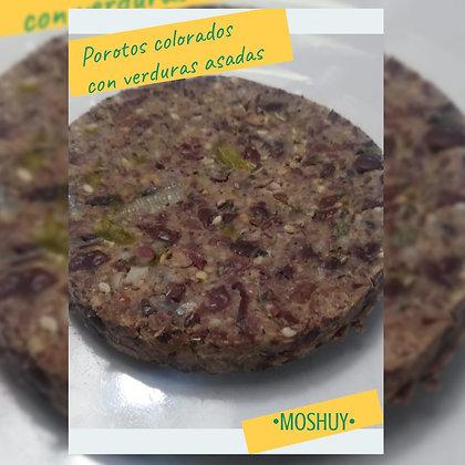 Hamburguesa vegana: Porotos colorados con verduras asadas - Moshuy Saludable