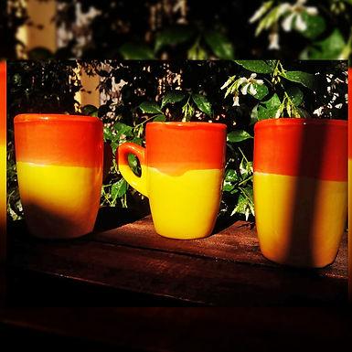 Juego de tres tazas - Floral - Cerámica Artesanal