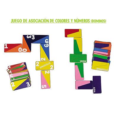 Juego De asociación de Colores y números (Dominó) - Huella Lúdica