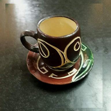 Taza con plato esmaltado - Surcos Cerámica