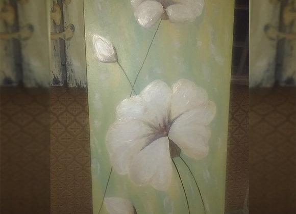 Cuadro con flores pintado a mano y en relieve - El rincón del arte sano