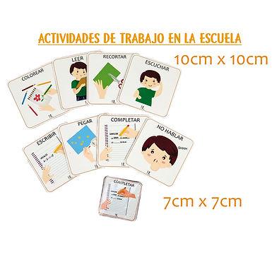 Actividades De Trabajo En La Escuela 7x7 cm - Huella Lúdica