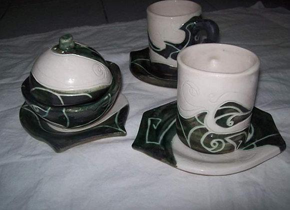Juego de tazas de té con azucarera esmaltado - Surcos Cerámica