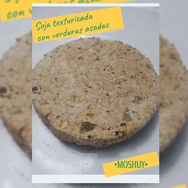Hamburguesa vegana: Soja texturizada con verduras asadas - 6 u - Moshuy Saludabl