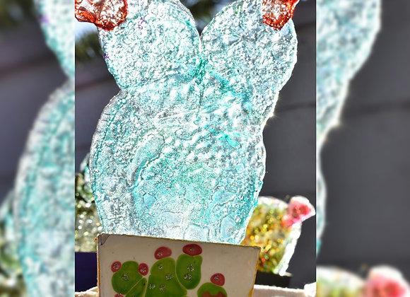 Cactus en vitrofusion reciclado grande - Piuambar