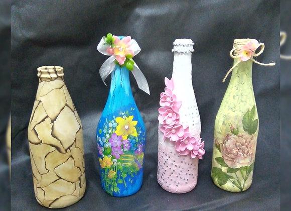 Decoupage y decoración de botellas - El Andén