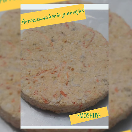 Hamburguesa vegana: Arroz, zanahoria y arvejas - 6 u. - Moshuy Saludable