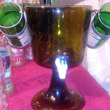 Ponchera para preparar bebidas con dos vasos - Artesanías en Botellas San Juan