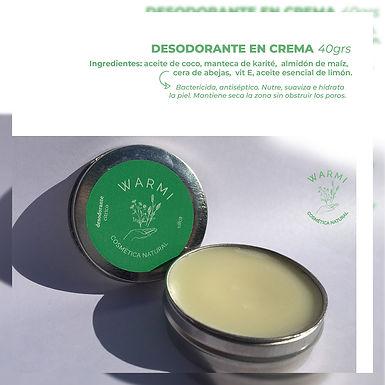 Desodorante en crema - Warmi Cosmética Natural
