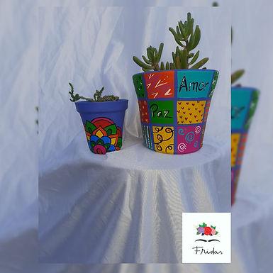 Maceta pintada - Fridas