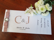 White and blush pink monogram cheque boo