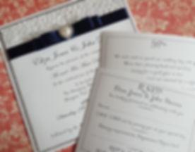 Handmade Silver glitter card and embossed heart paper pocketfold wedding invitation 3.jpg