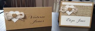 Handmade rustic heart design wedding pla