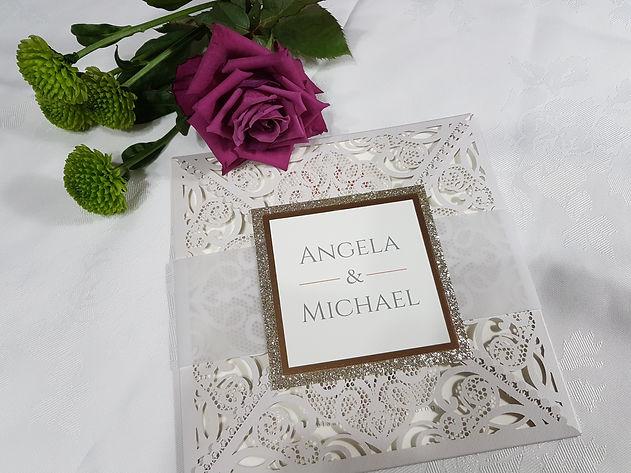 silver grey  Laser cut wedding invitatio