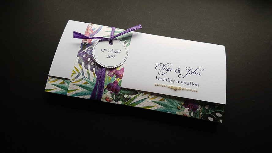 Exotic summer wedding pocketfold wedding invitation
