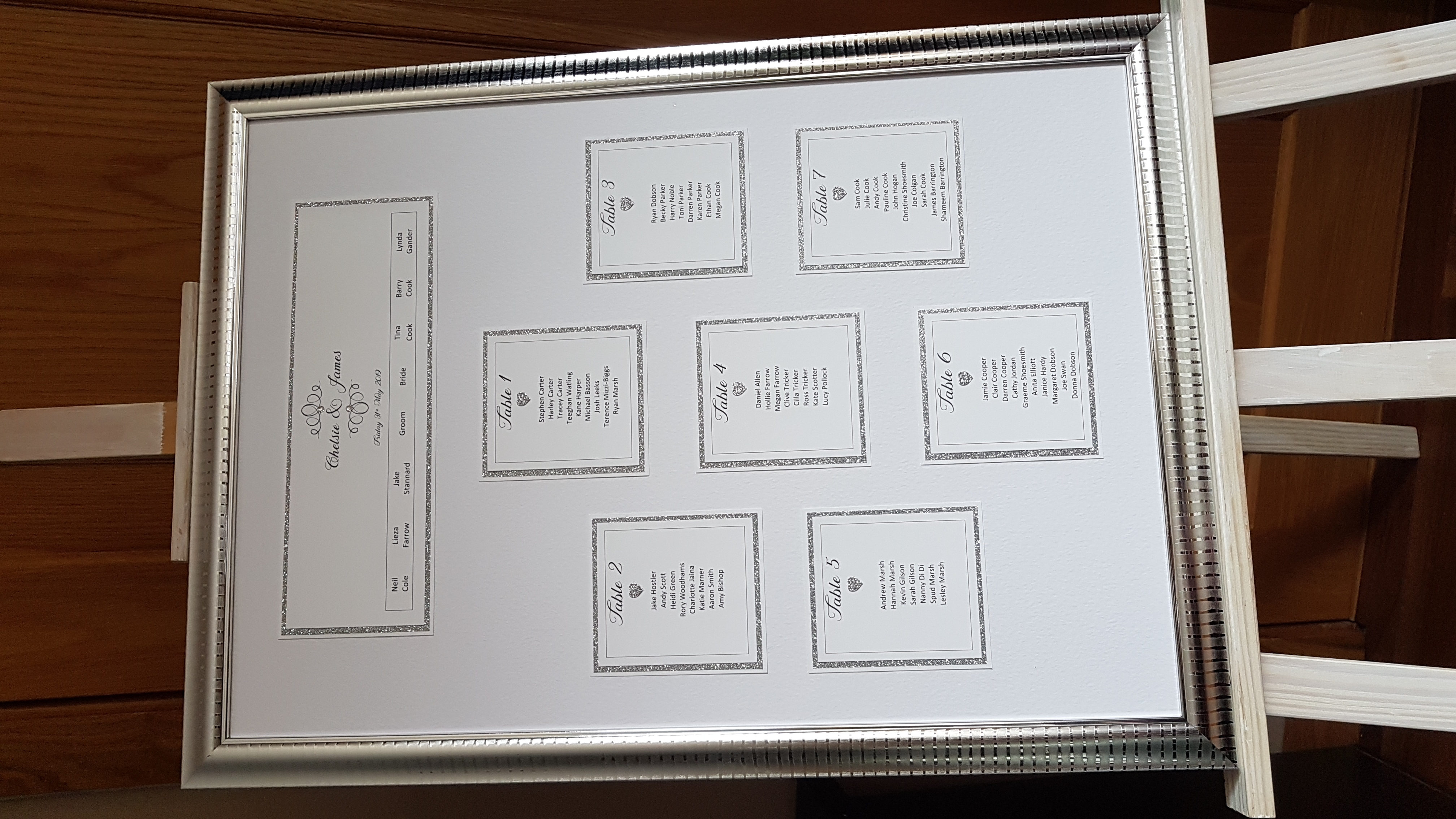 Table Plan_ White and silver glitter wit