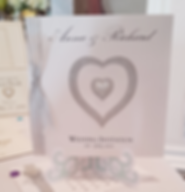 Silver glitter heart pocketfold wedding invitation