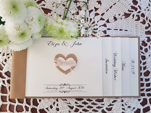 Rustic Cheque Book wedding invitation, with Hessian heart & twine