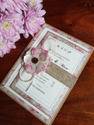 VINTAGE BLUSH PINK RUSTIC WEDDING INVITA