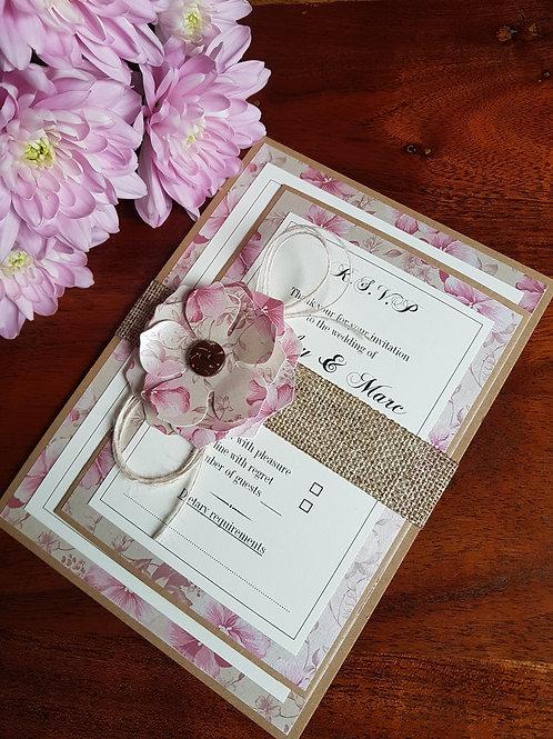VINTAGE BLUSH PINK RUSTIC WEDDING INVITATION