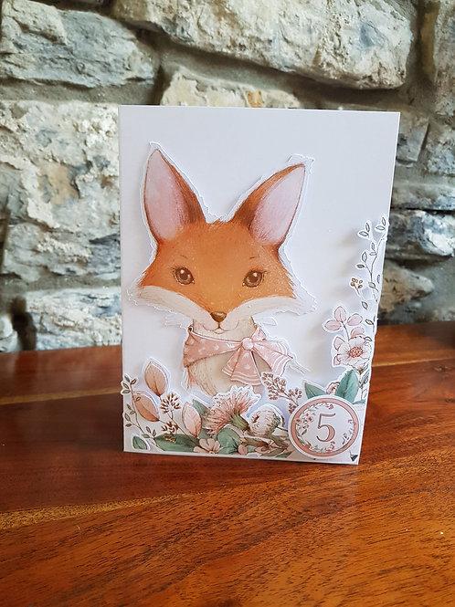 Children birthday card with cute fox