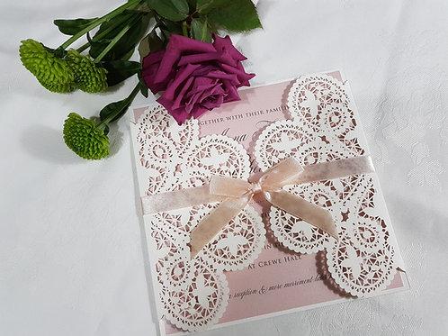 Fushia_White laser cut wedding invitation