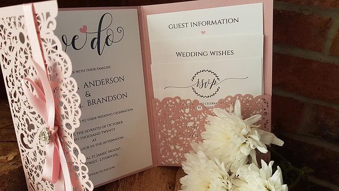 Blush pink Pocketfold Laser cut wedding