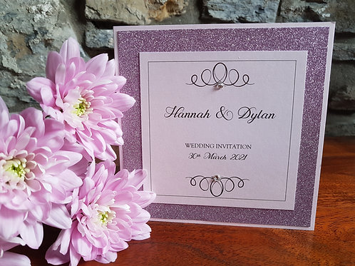 PINK AND BLUSH PINK GLITTER POCKETFOLD WEDDING INVITATION