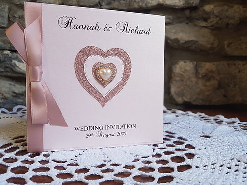 Rose gold pocketfold Wedding invitation with Rose gold glitter heart