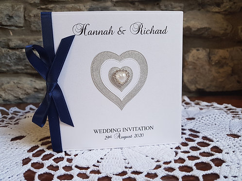 White pocketfold Wedding invitation, silver glitter heart, ribbon colour  choice